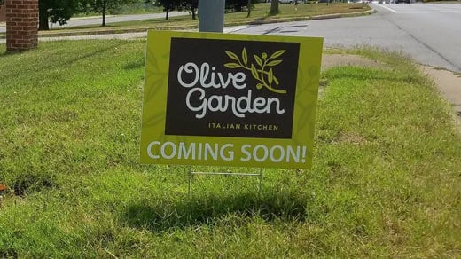 Sign Falsely Claims Olive Garden Coming To Site Of Ladd Elementa   NBC29  WVIR Charlottesville, VA News, Sports And Weather