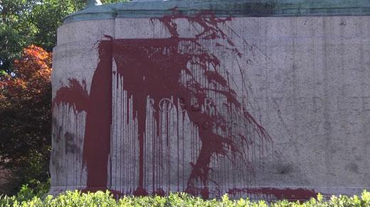 Graffiti on Lee Statue in Charlottesville's Emancipation Park (FILE IMAGE)