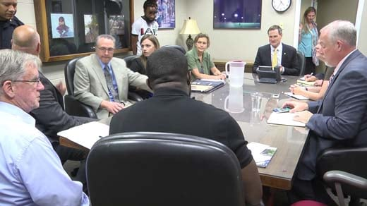 Charlottesville city officials at a closed door meeting