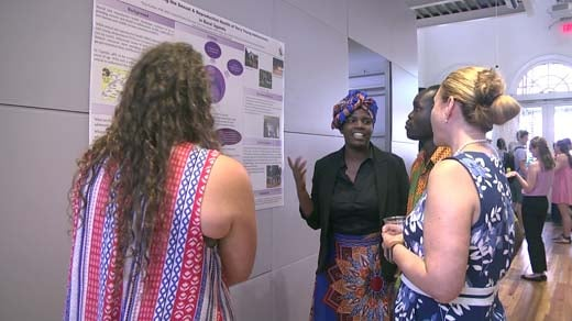 A group of UVA students that traveled to Africa share their research at a symposium