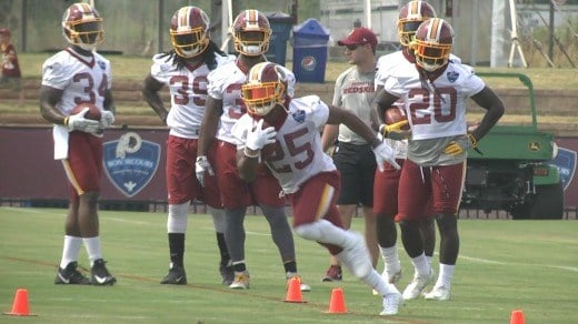 Chris Thompson cuts during a drill at Redskins' Training Camp