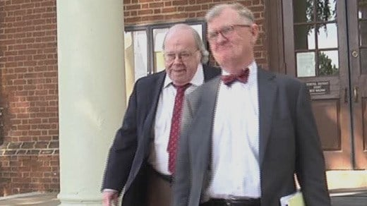 Walter Francis Korte Jr. (left) leaving Albemarle Circuit Court