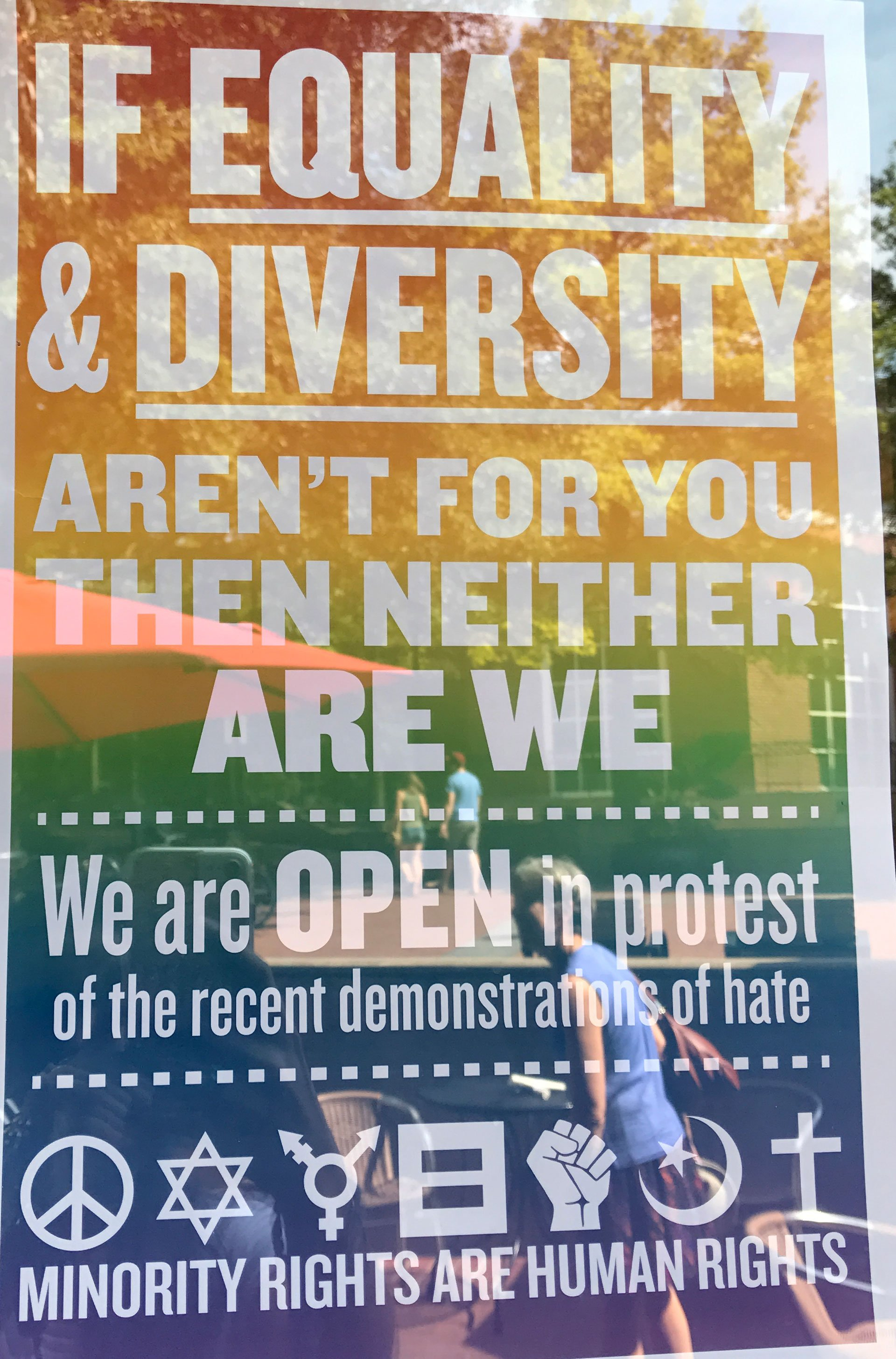 Equality sign displayed at Whiskey Jar on Downtown Mall