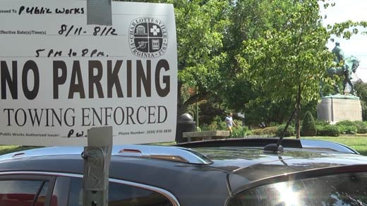 'No Parking' notice placed ahead of events near Emancipation Park
