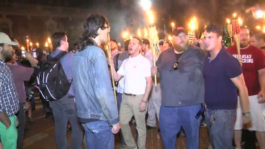 white supremacists clash with counter protesters at UVA Rotunda