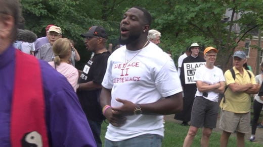 Wes Bellamy at McGuffey Park at clergy march