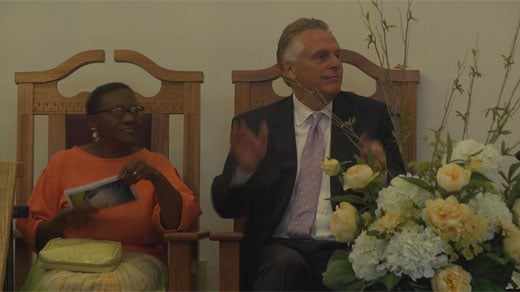 Governor McAuliffe at church in Charlottesville