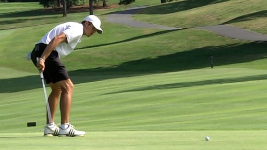 Davis Soderberg reacts to his putt not going in in the sudden death playoff