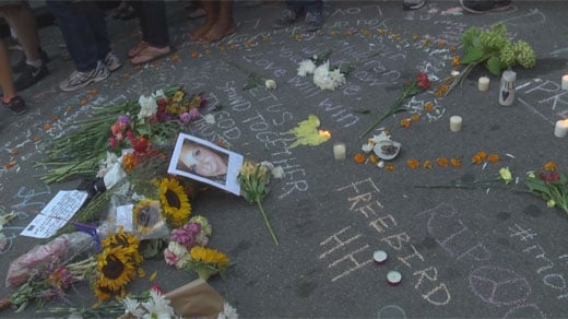 An image of Heather was placed in the crash site