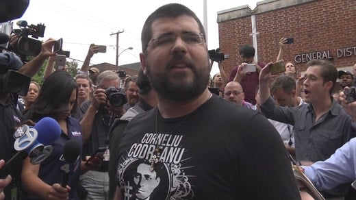 Matthew Heimbach speaking to the press outside of Charlottesville General District Court
