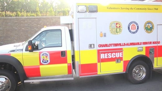Ambulance with the Charlottesville Albemarle Rescue Squad
