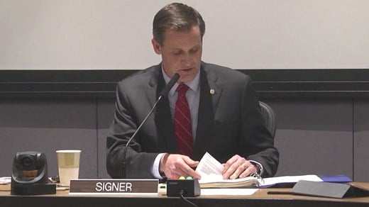 Charlottesville Mayor Mike Signer at a public City Council meeting (FILE IMAGE)