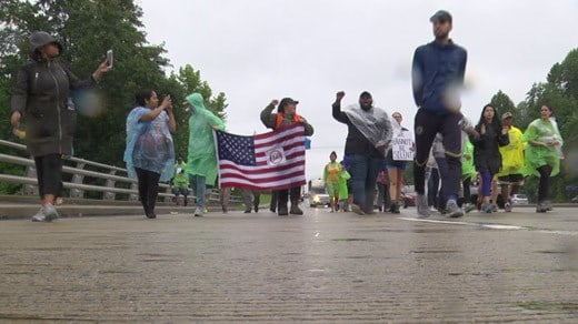 Participants of the Cville2DC March making their way to Ruckersville