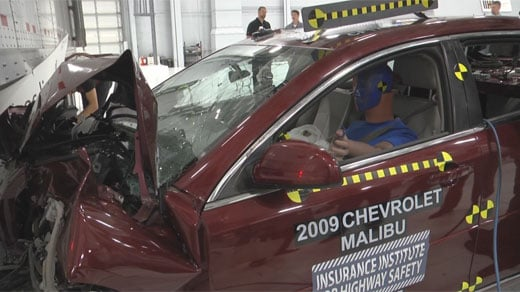 Test car, with test dummy after crash simulation