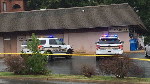 Albemarle County police on the scene at Westpark Market along Four Seasons Drive (FILE IMAGE)