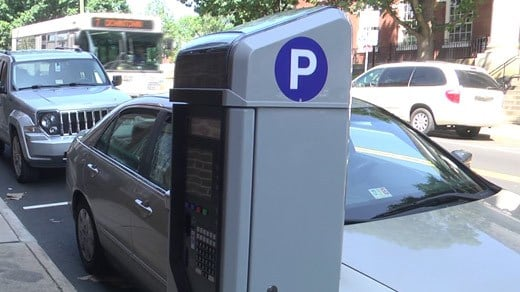 Parking meter station along Market Street in Charlottesville