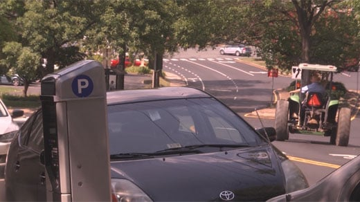 A parking meter in downtown Charlottesville