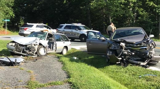 Cars involved in a crash along Earlysville Forest Drive