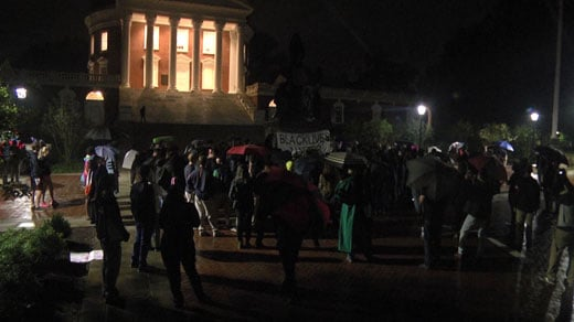 protesters gather at Jefferson statue at UVA