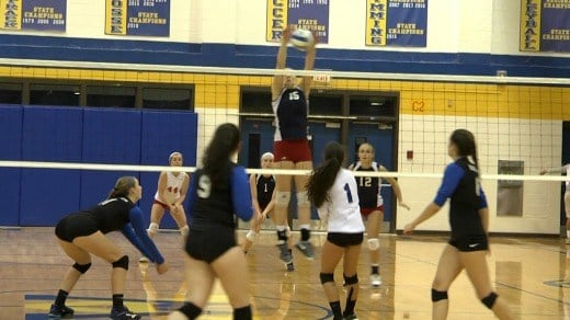 Gabbi DeGennaro blocks a shot for the Patriots