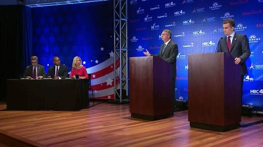 Gillespie and Northam on stage at debate