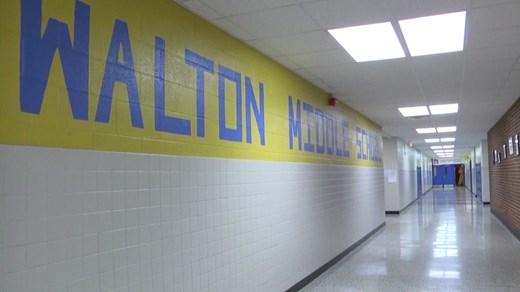 Hallway inside Walton Middle School
