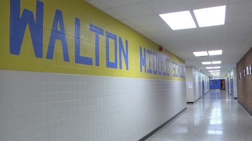 Hallway inside Walton Middle School