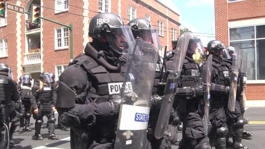 Members of the Virginia State Police in riot gear during the Unite the Right rally (FILE IMGE)