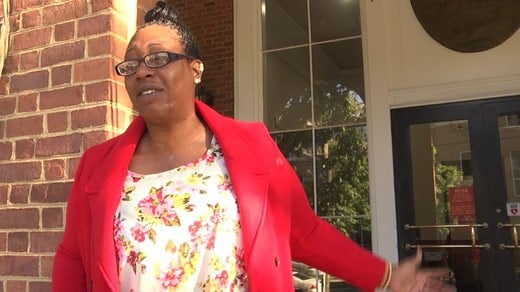 Shauntia Tia Alexander outside Charlottesville Circuit Court