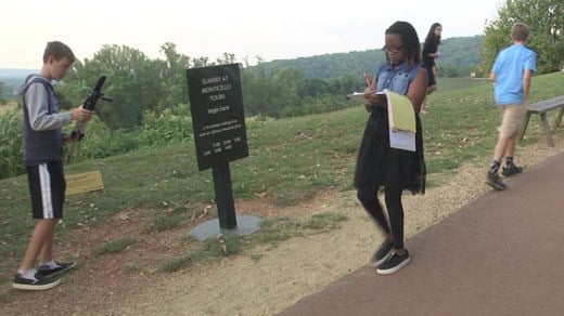 Students working to create a virtual reality tour at Monticello