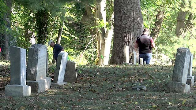 Archaeologists surveying the Daughters of Zion Cemetery