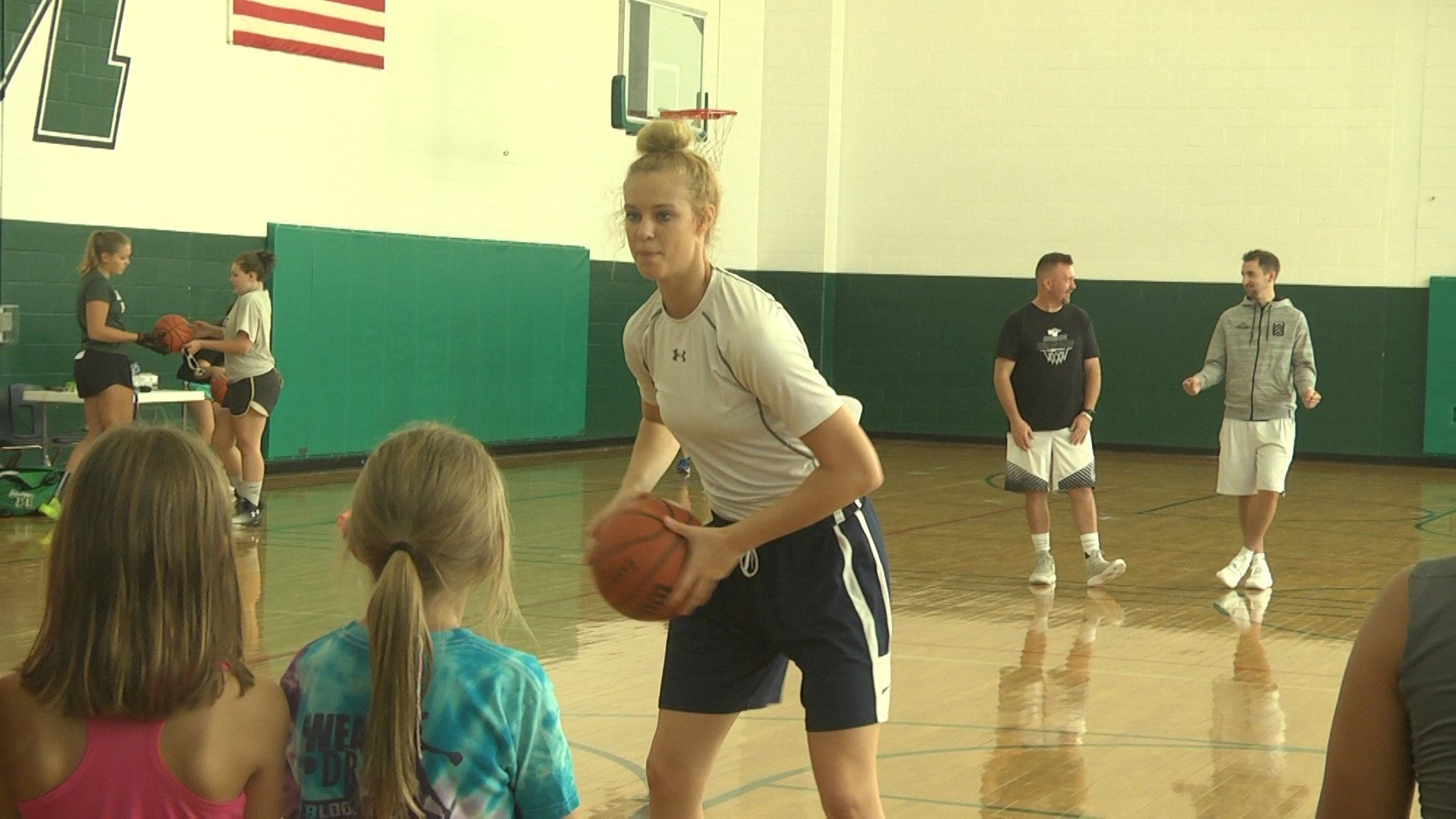 "Samantha Brunelle held her ""Hoops for Houston"" camp at William Monroe Middle School"