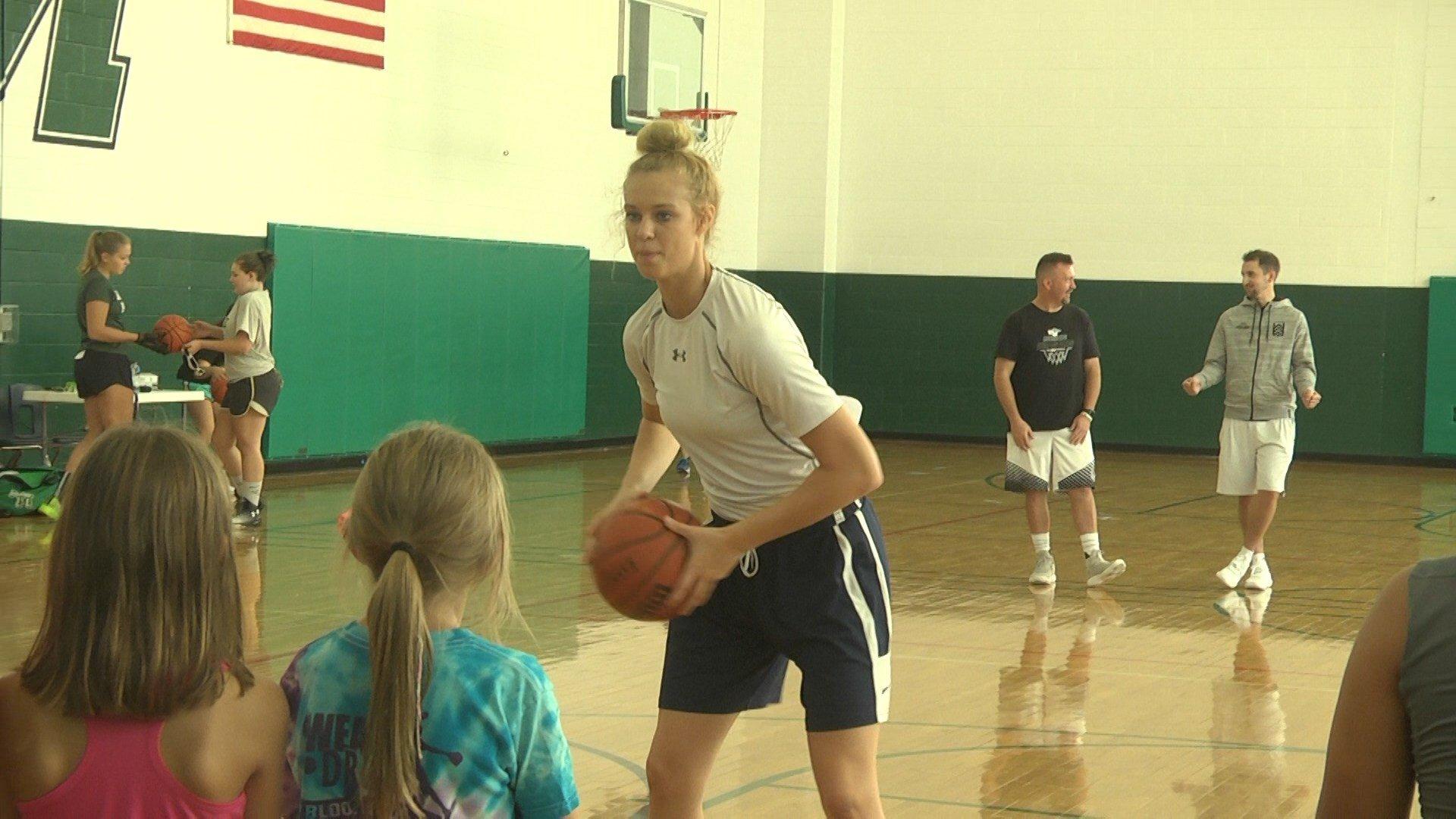 "Samantha Brunelle held her ""Hoops for Houston"" camp at William Monroe Middle School"