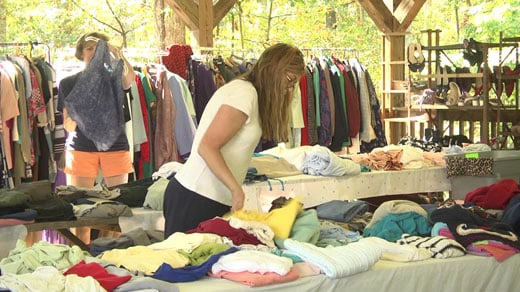 Clothing at the yard sale