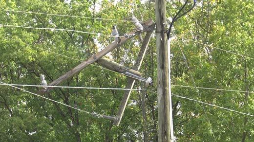 Damaged power pole