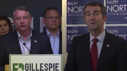 Northam and Gillespie debating