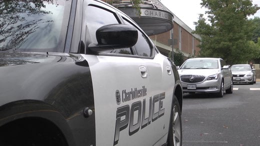 A Charlottesville police car outside Charlottesville High School