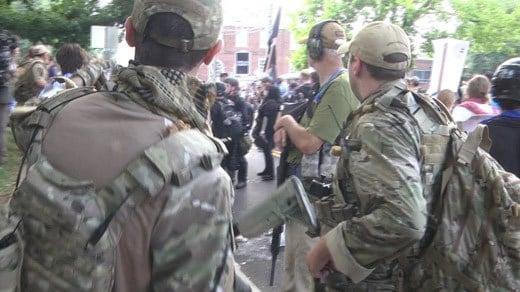 Armed supporters of the Unite the Right rally in Charlottesville (FILE IMAGE)