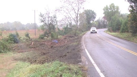 Cleared scene along Route 33. A tractor-trailer had gone off the road earlier in the day.