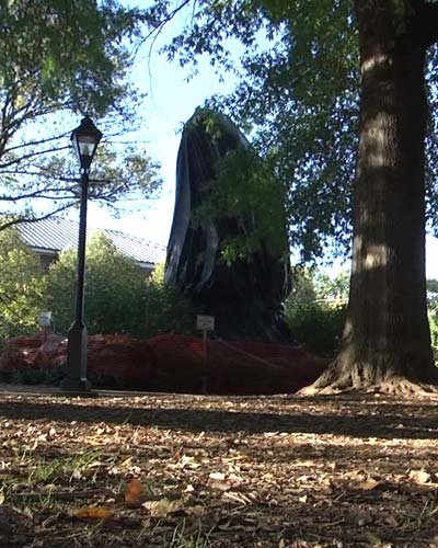 Jackson statue in Justice park covered by a tarp (FILE IMAGE)