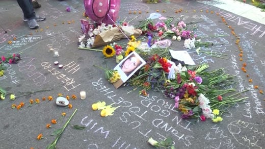 Memorial created for Heather Heyer near where she was  struck (FILE IMAGE)