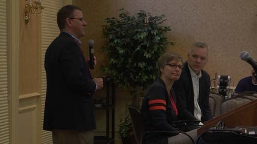 Three panelists led a session on cybersecurity