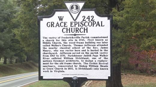 The historical marker at Grace Episcopal Church