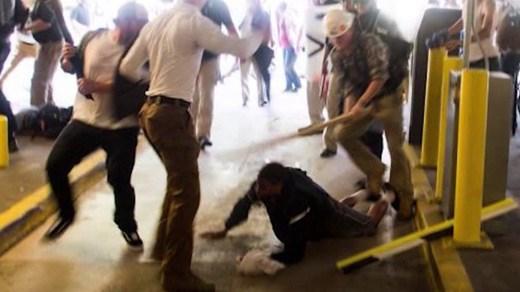 DeAndre Harris being assaulted inside the Market Street Parking Garage (Photo courtesy Twitter @ZDRoberts)