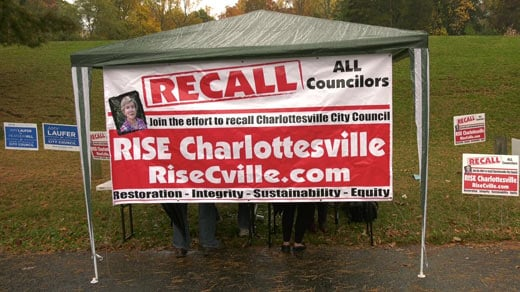 RISE Charlottesville set up outside an Election Day polling location