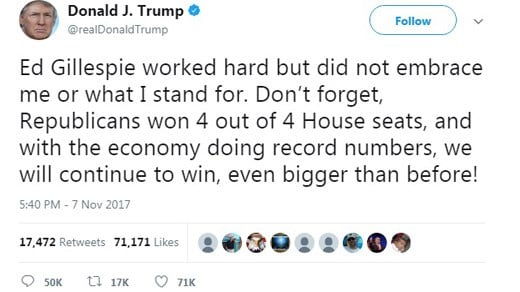 Tweet from President Donald Trump