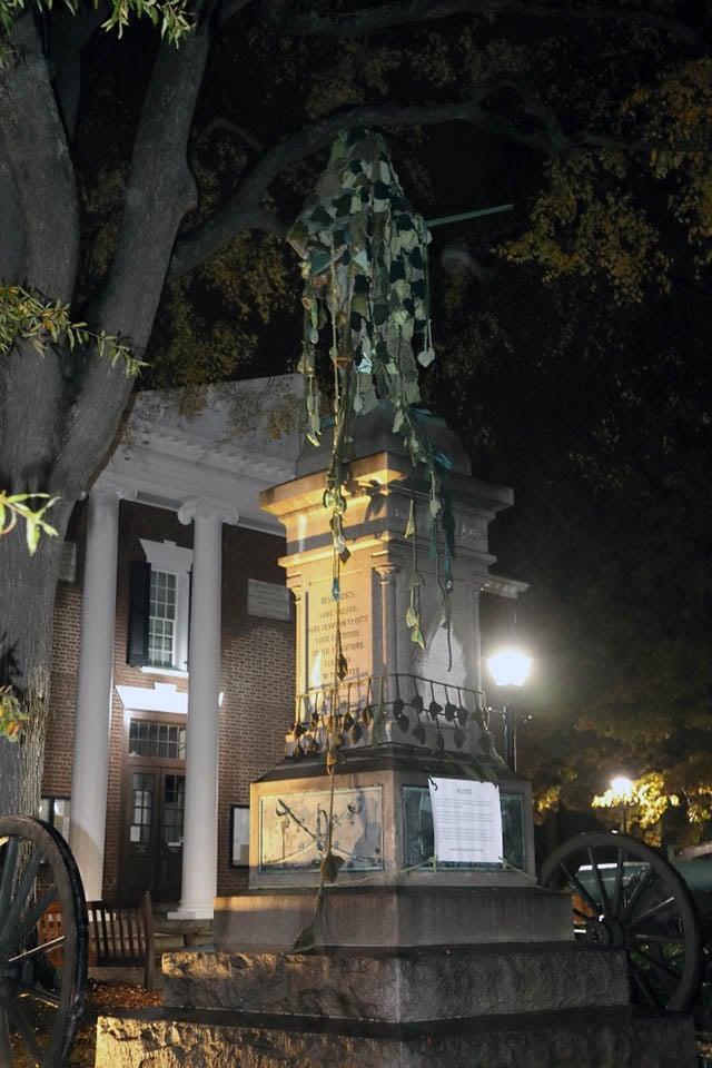 The Confederate statue covered in knitted Kudzu