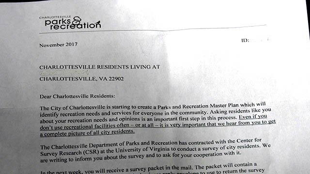 Photo of letter sent to Charlottesville residents