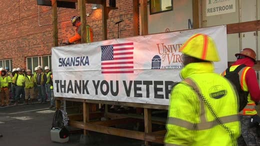 Construction worker veterans were honored on site