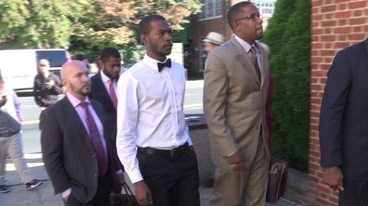 Corey Long (CENTER) and Malik Zulu Shabazz (RIGHT) entering Charlottesville General District Court (FILE IMAGE)